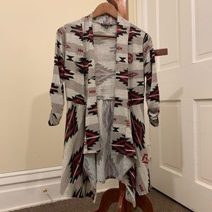 Printed Open Front Cardigan